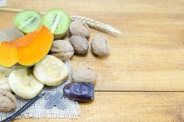 Pumpkin, figs, walnuts and wheat