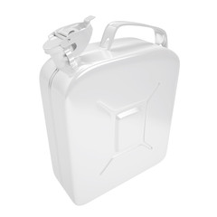 Jerrycan, container for fuel. Canister of gasoline by isolated