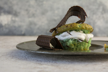 mint cake, filled with meringue and chocolate chips
