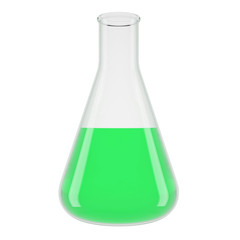 Chemical laboratory transparent flasks with green liquid