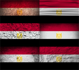 Set of 6 flags of Egypt with old texture. Vector