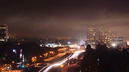 Fog creeps over Los Angeles Freeway - Time Lapse