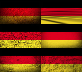 Set of 6 flags of Germany with old texture. Vector