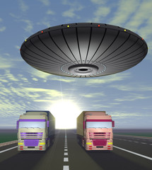 Two trucks carrying cargo are on the highway and round UFO over
