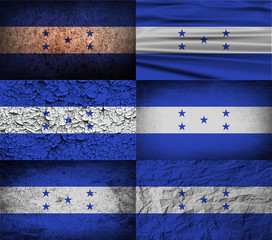 Set of 6 flags of Honduras with old texture. Vector