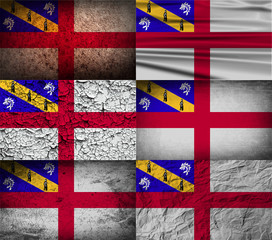 Set of 6 flags of Herm with old texture. Vector