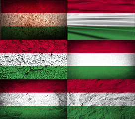Set of 6 flags of Hungary with old texture. Vector