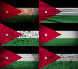 Set of 6 flags of Jordan with old texture. Vector