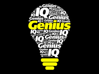 Genius word cloud bulb concept