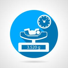Newborn weighing blue vector icon