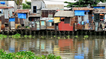 Zoom Out of Shacks on the Saigon River - Ho Chi Minh City (Saigon) -