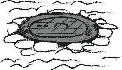 doodle grunge manhole cover