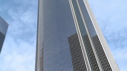 Zoom out of Modern Office Buildings Skyscraper in Los Angeles