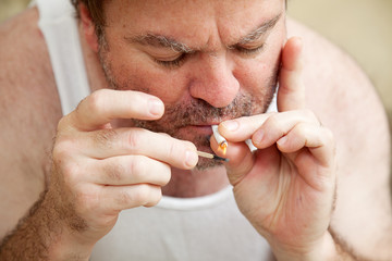 Lighting a Joint - Marijuana
