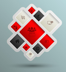Vector square for business concepts with icons,