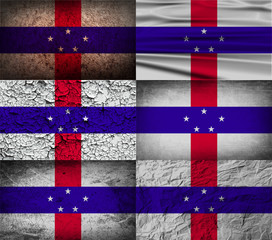 Set of 6 flags of Netherlands Antilles with old texture. Vector
