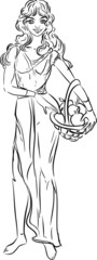 Sketch of girl with basket of apples