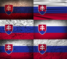 Set of 6 flags of Slovakia with old texture. Vector