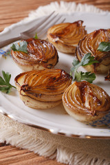 caramelized onions on a plate close-up. Vertical