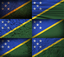Set of 6 flags of Solomon Islands with old texture. Vector