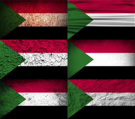 Set of 6 flags of Sudan with old texture. Vector