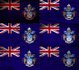 Set of 6 flags of Tristan da Cunha with old texture. Vector