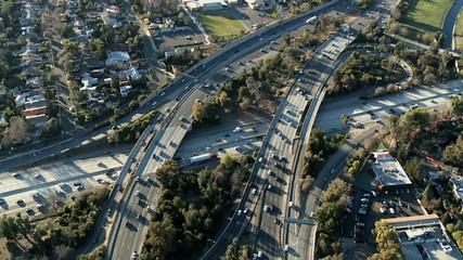 Speed Up Aerial View of Freeway / Highway Interchange Los Angeles