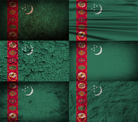 Set of 6 flags of Turkmenistan with old texture. Vector