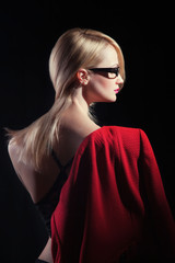 Fashion portrait of young blond lady with red lips, threndy juck