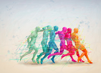 soccer concept, colorful people hitting the ball