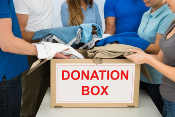 People Donating Clothes