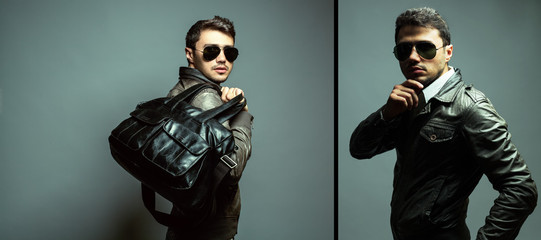 Fashion portrait of handsome man in leather trendy jacket, sungl