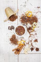 Rooibos tea. Dried Rooibos tea and ingredients