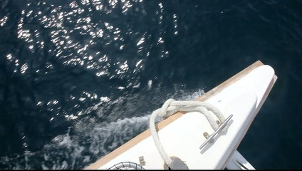 Wake of a sailing boat, shot from top