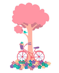 Spring. Tree with flowers and bicycles