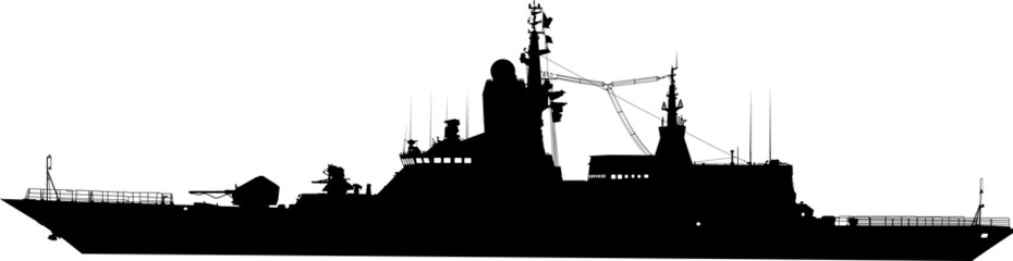 Vector silhouette of the military ship