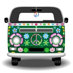 Hippie Groovy Van Peace and Love