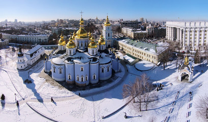 St. Michael's Cathedral in Kiev, Ukraine, aerial view