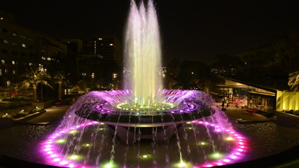 Los Angeles City Hall and Fountain at Night