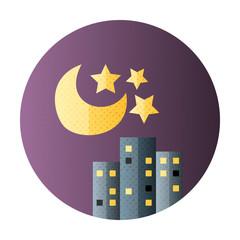 Urban city night life flat circle icon