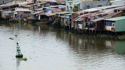 Time Lapse of Water and Shacks on the Saigon River - Ho Chi Minh City (Saigon)