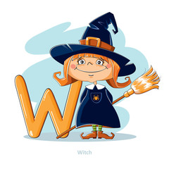 Cartoons Alphabet - Letter W with funny Witch