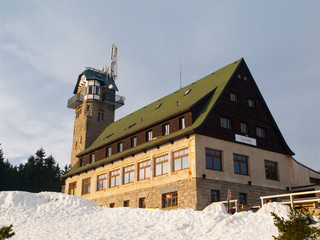 Mountain hut with lookout tower