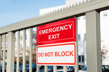 Emergency Exit And Do Not Block Signboard