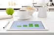 Leinwanddruck Bild - breakfast and charts