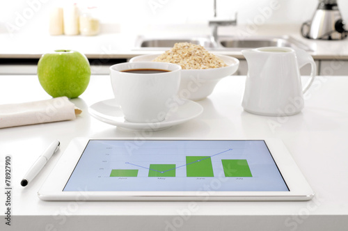 Leinwanddruck Bild breakfast and charts