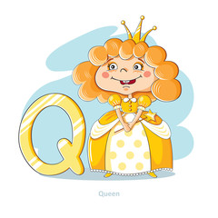 Cartoons Alphabet - Letter Q with funny Queen