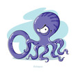 Постер, плакат: Cartoons Alphabet Letter O with funny Octopus