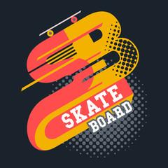 Skateboard t-shirt typographic design