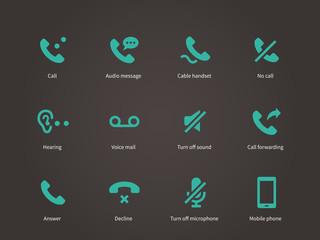 Phone and communication icons set.